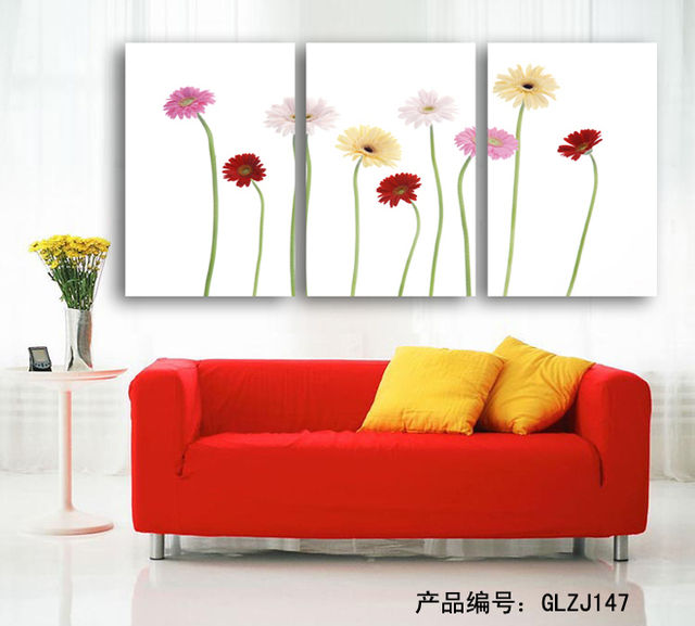 Home Decor Canvas 3 Piece Wall Art of Beautiful Flower Unframed for Home Ornamental Wall - & Home Decor Canvas 3 Piece Wall Art of Beautiful Flower Unframed for ...