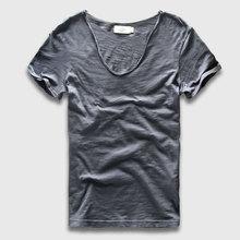 Hombres Camiseta Básica de Algodón Sólido Con Cuello En V Slim Fit Hombres Camisetas de La Moda de Manga Corta de Tes Superior 2017 Marca