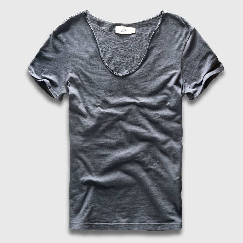 Men Basic T-Shirt Solid Cotton V Neck Sls