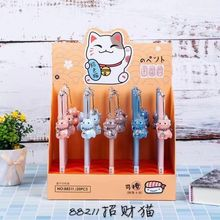 20pcs Gel Pens Cartoon Lucky Cat black colored gift gel-ink pens for writing Cute stationery office school supplies 0.5mm