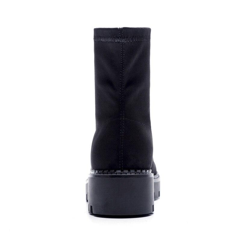 Smirnova Tobillo Moda black Tacones Mujer Botas Faux Redonda 1 Damas De Del Zapatos Black Clásicos Negro Suede Pie Cuero Dedo 2 Cuadrados Plataforma rrq15zS