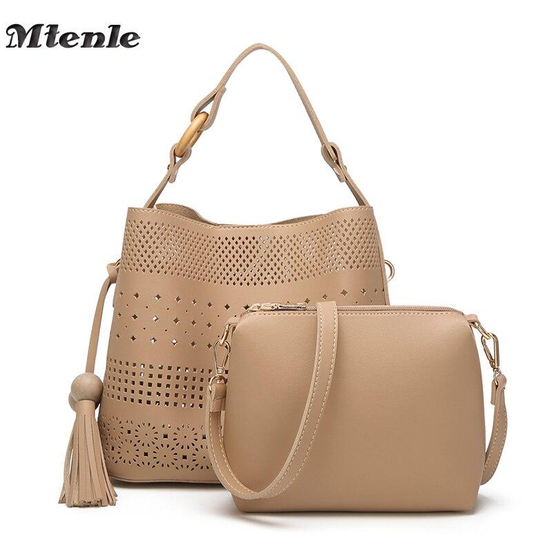 MTENLE Women Leather Handbag Set Hollow Out Purses Handbag Composite Bag Tassel Solid Ladies Hand Bag Shoulder Woman Bag 2017 FI цена 2017