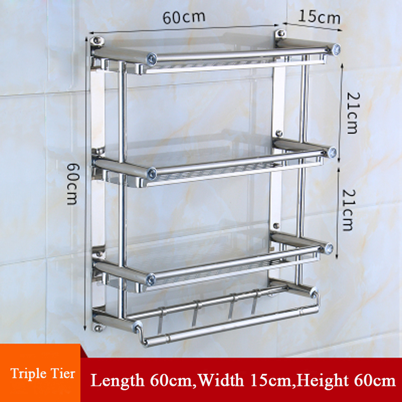 Sus 304 Stainless Steel 40 50 60cm Triple Tier Bathroom Shelves Polished Finish Storage Rack