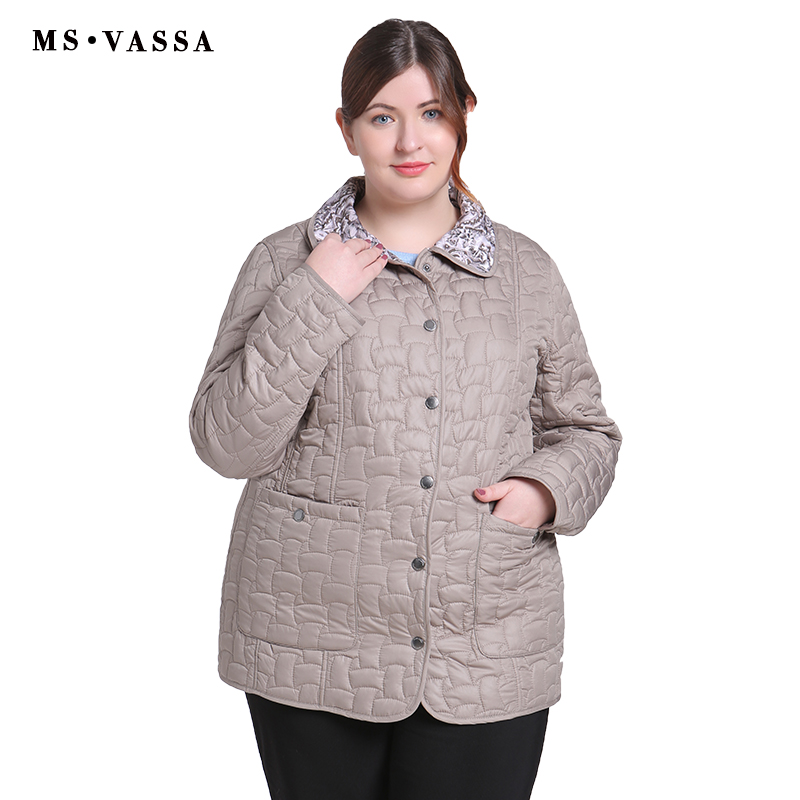 MS VASSA Autumn Women Jacket Double-sided W Ladies Casual Jacket With Flock Turn-down Collar Plus Size Cota S - 7XL Outerwear