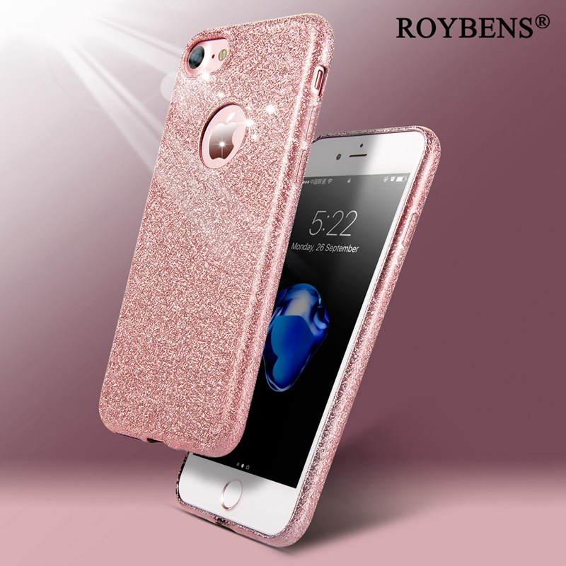 online store 9447a e8eaa US $2.07 48% OFF|Roybens Shinny Bling TPU Case For iPhone 6 6S Pus iPhone 7  Luxury Case Glitter Soft Silicon Slim Matte Logo Circle Back Cover -in ...