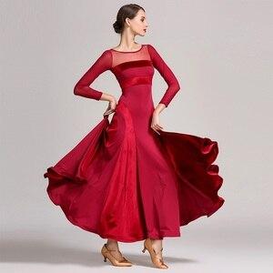 Image 1 - Czerwona standardowa sukienka balowa kobiety walc sukienka fringe ubrania taneczne sukienka do tańca towarzyskiego nowoczesne kostiumy do tańca sukienka flamenco
