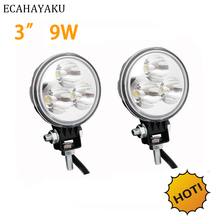 ECAHAYAKU 4pcs 3 Inch 9W LED Work Light 12V Spot for Motorcycle Offroad Boat Tractor Truck 4WD 4x4 SUV ATV Car Driving Fog Lamp