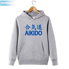 KOLVONANIG 2019 Sweatshirts Pullover Mens Winter Japan AIKIDO Printed Hoodies With Hat Hoody Cotton Sportswear Clothing