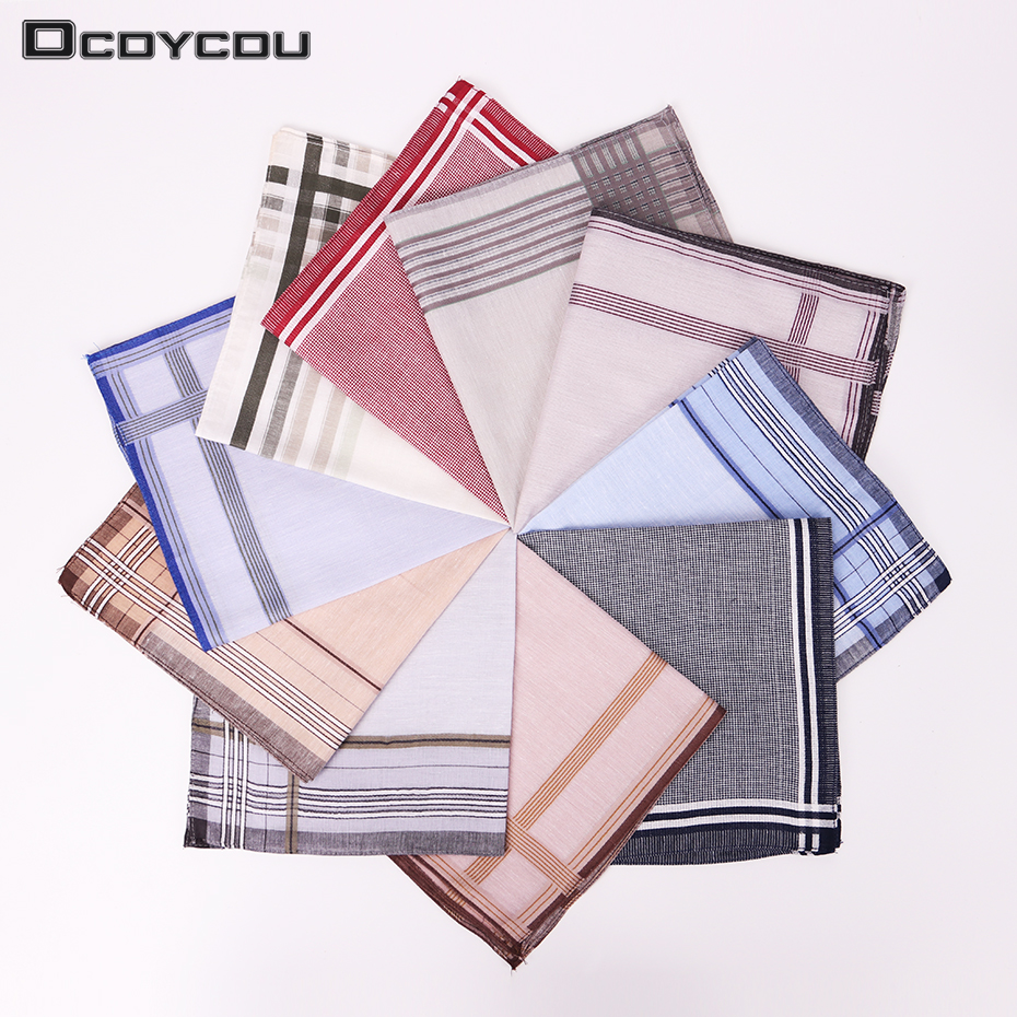 3PCS Classic Pattern Men Plaid Pocket Handkerchief Pocket Square Handkerchiefs Cotton Stripe Handkerchief 38cmX38cm