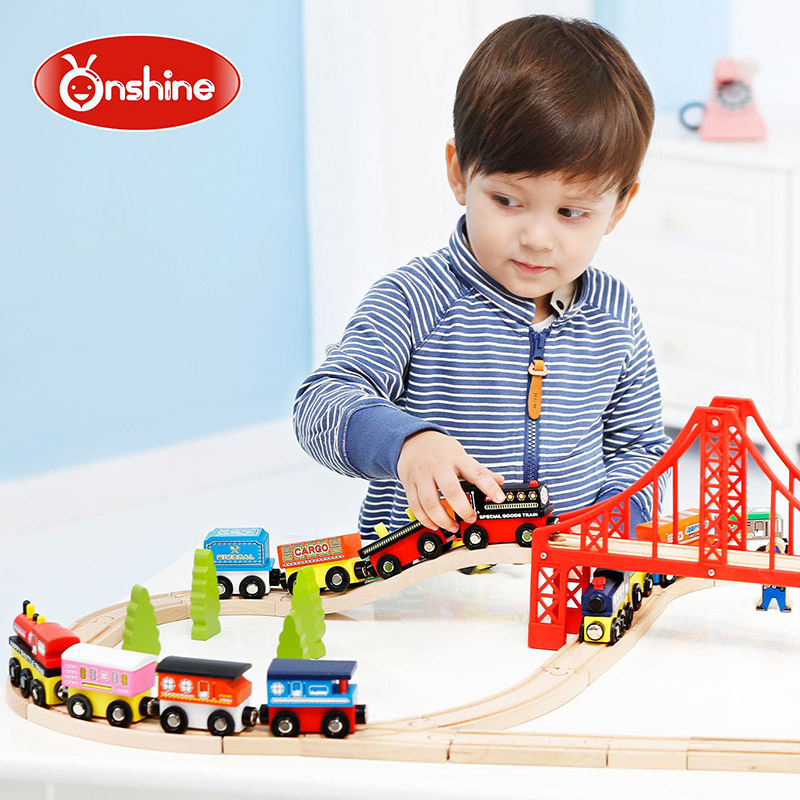 Children wooden toy trains inertia with magnet kid...