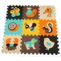 9 Pcs Colorido do Teste Padrão animal Puzzle de Espuma Tapete Crianças Tapete Divisão Joint EVA Puzzle Esteiras Esteira do Jogo atividade Interior Macio Para crianças