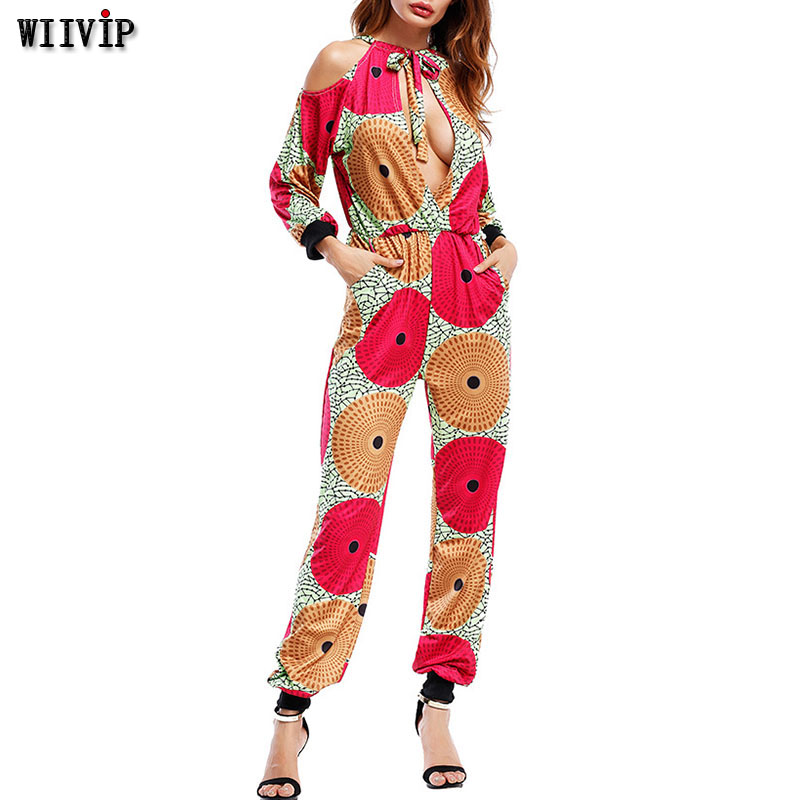 2019 Woman Elegant Summer Off Shoulder Romper Strap Jumpsuits Lady Sexy Backless Long Sleeve Bohemian Camisole Full Length 9043