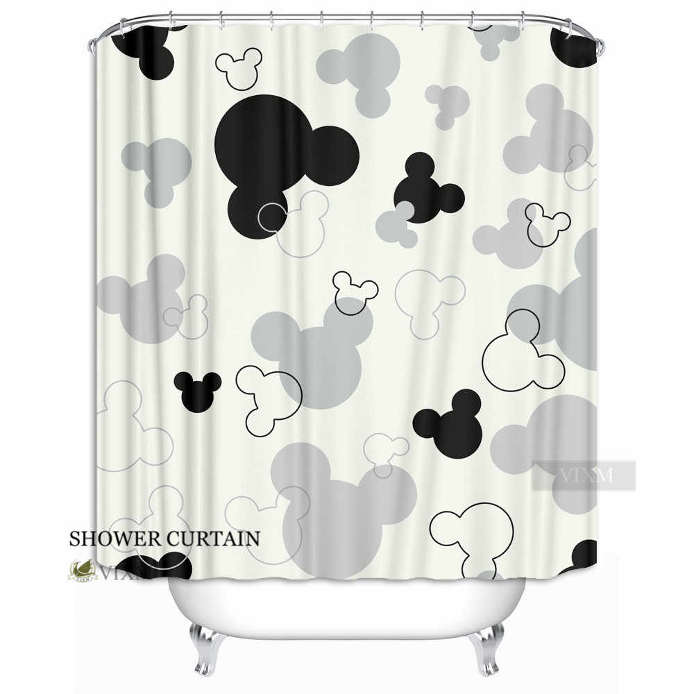 VIXM Home Christmas Minnie Mickey Mouse Shower Curtain Red Cartoon Princess Bath Curtains Waterproof For