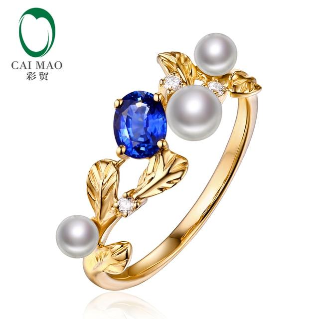 Caimao 14 К Золото Природный 0.49ct Синий Сапфир с Жемчугом и Бриллиантом Винтажный Дизайн Свадьба Обручальное Кольцо