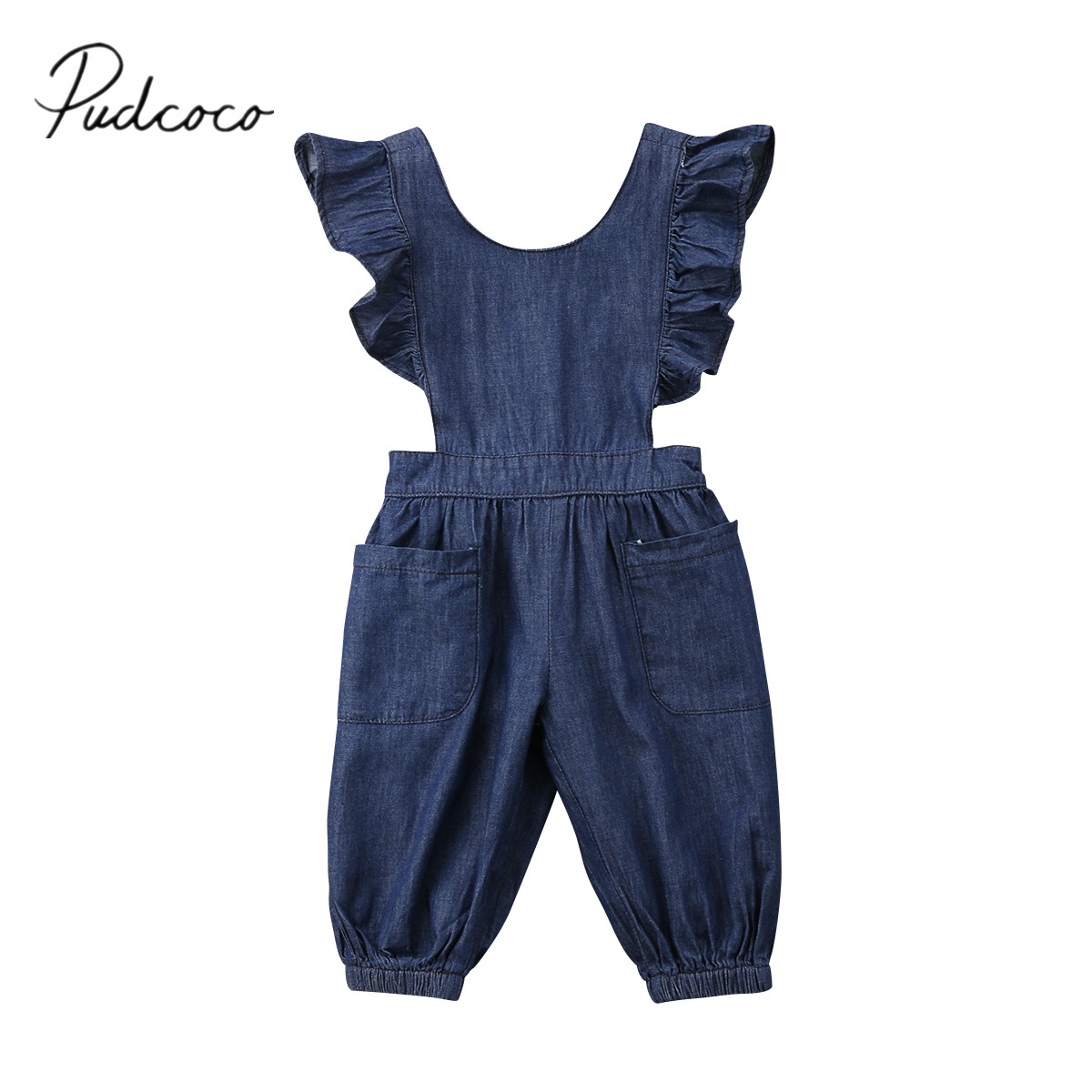 2018 Brand New Cute Toddler Infant Kids Baby Girls Ruffle Jumpsuit Denim Romper Long Pants Outfits Backless Summer Clothes 1-6T