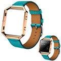 Fabuloso luxo couro genuíno watch band alça de pulso + armação de metal para fitbit chama smart watch atacado no25