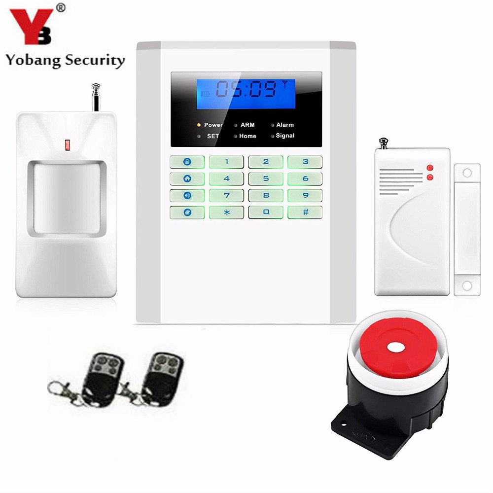 YobangSecurity LCD Screen Keyboard GSM PSTN Dual Network Alarm System for Home Security Wired Siren PIR Detector Door Sensor 433mhz dual network gsm pstn sms house burglar security alarm system fire smoke detector door window sensor kit remote control