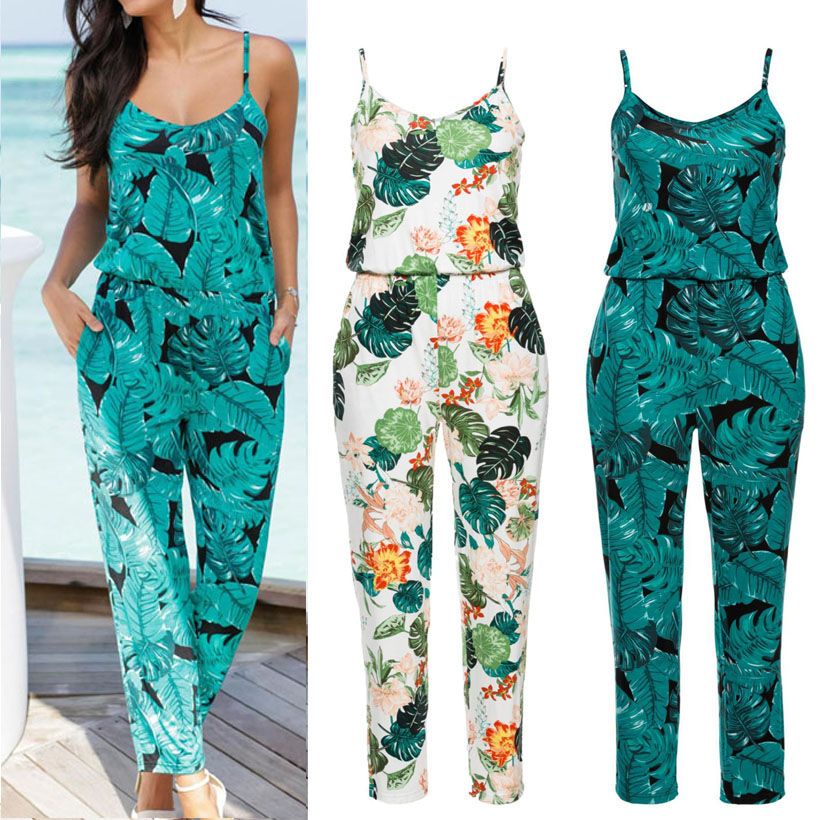 Sexy Sleeveless jumpsuit women long romper 2019 summer lady Fashion floral trousers beach jumpsuit coveralls sexy female frock(China)