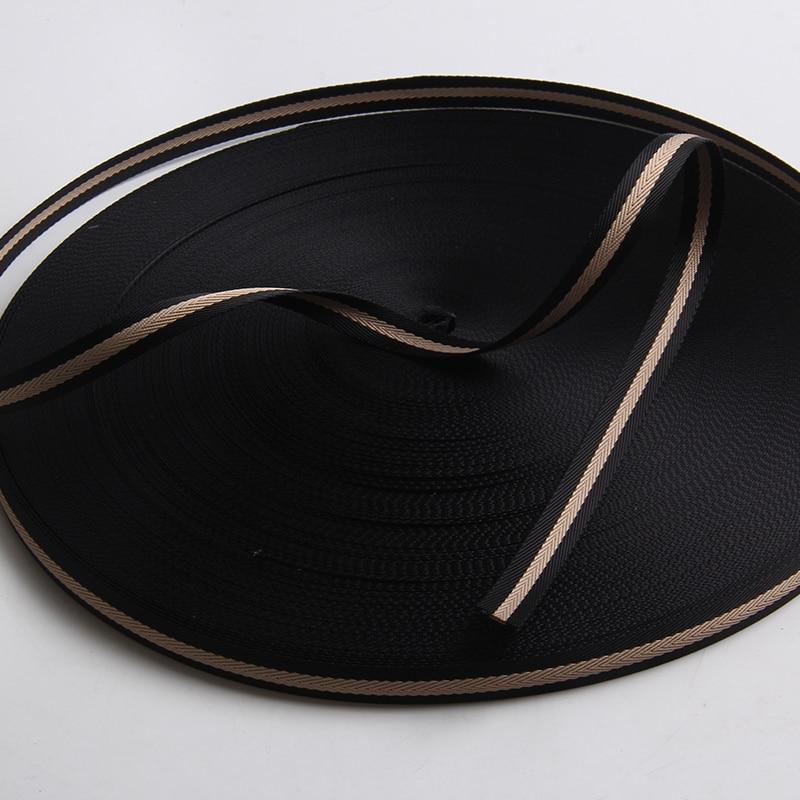 1.5 cm herringbone  tape beige/black color high quality nylon ribbon webbing 5/8 inch