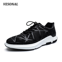 VESONAL New 2017 Brand High Quality Mens Shoes Casual Lycra Breathable Wedge Men Shoes Fashion Outdoor Walking Black SD7068
