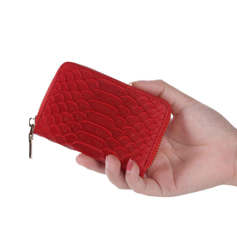 fashion women credit card holder genuine leather serpentine lady small card wallet organizer card case