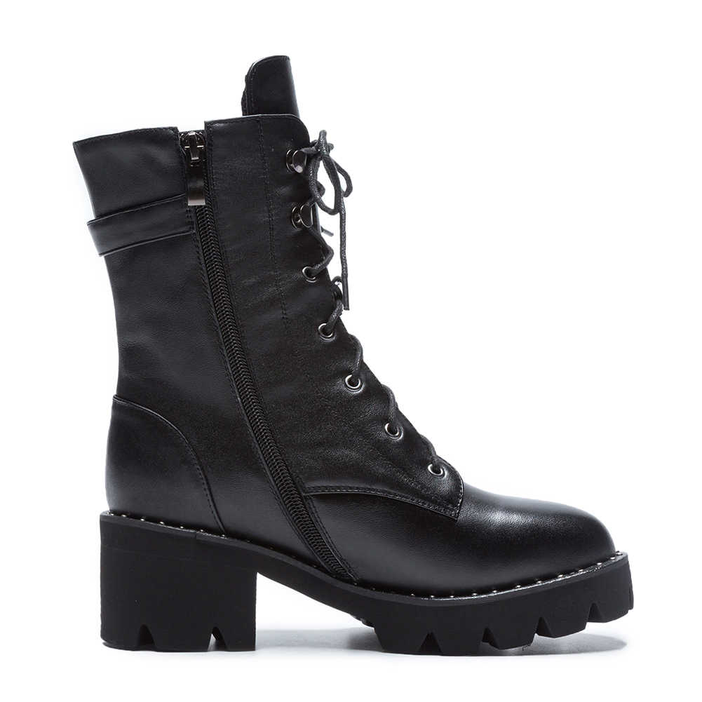 Doratasia/2019; обувь из натуральной кожи; большие размеры 43; женские ботильоны из коровьей кожи на квадратном каблуке; женская обувь; женские Ботинки Martin