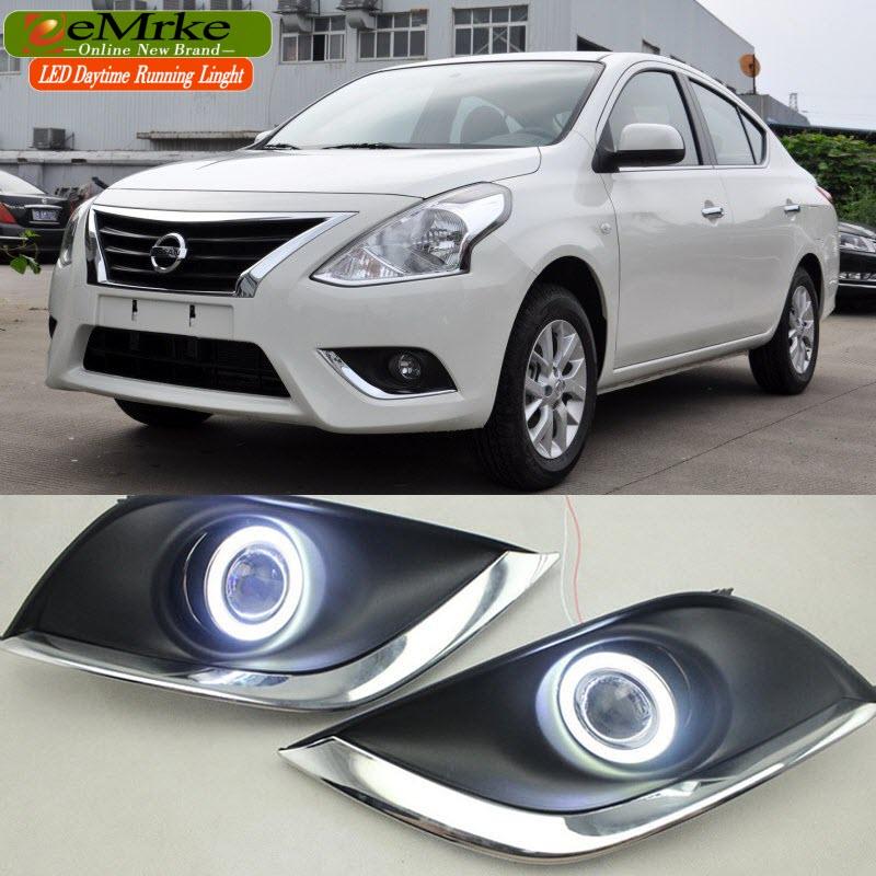 eeMrke для Nissan Latio наоборот Солнечный светодиодный Ангел глаз DRL дневные ходовые огни Противотуманные фары лампы