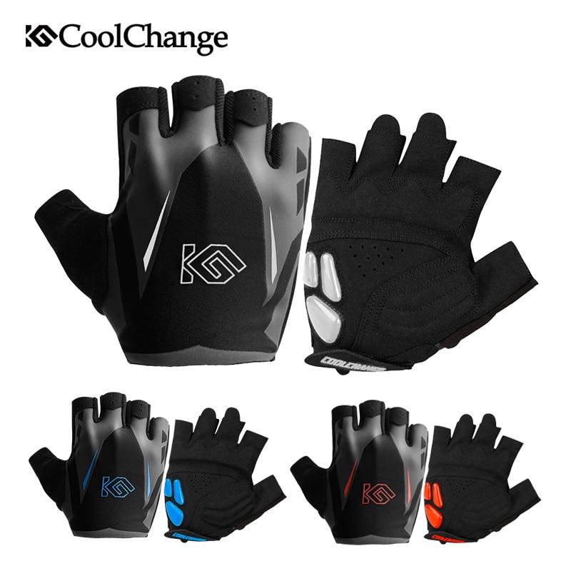 CoolChange Cycling Gloves Summer Sports Anti-sweat GEL Bicycle Gloves Anti-slip Breathable Half Finger Bike Gloves For Men Women