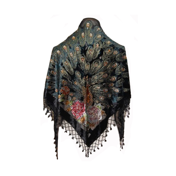 Black 100% Silk Velvet  Scarf Shawl Chinese National Women Triangle Pashmina Handmade Beaded Peacock Cape Mujeres Bufanda