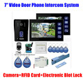 "7"" inch LCD Video Door Phone intercom Doorbell RFID Card 1 Camera + 2 Monitor with Door Button Electric Lock 7pc EMKeyfob system"