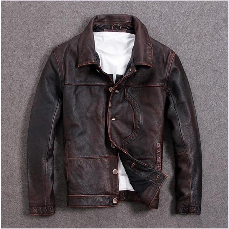 Jacket Harley Damson Plus-Size Genuine Brown Cowhhuide XXXXXL Vintage Autumn American