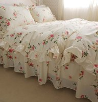 FADFAY Butterfly Meadow Floral Bedding Set Elegant French Country Style Vintage Ruffles Duvet Cover Bed with Lace Twin All Size
