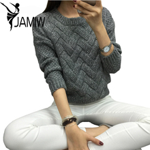 Women Pullover Female Casual Sweater Plaid O-neck Autumn and Winter Style