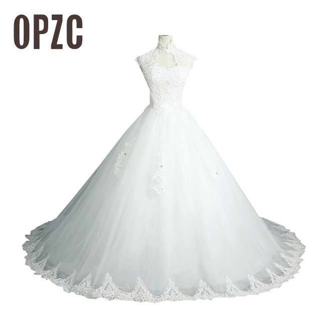 2876cc9aa2c2 Elegant Beautiful Flower Long Lace Train Embroidry Vintage Wedding Dress  2017 Fashion High Neck Vestido de noiva 100% Real Photo