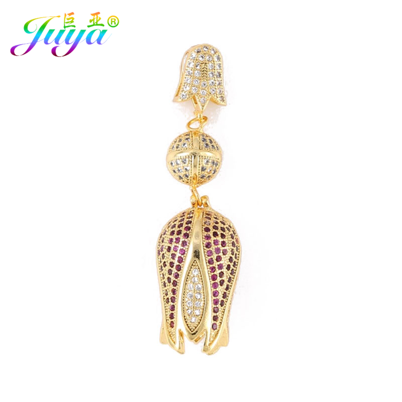 Juya Rose Gold/Silver/Gold Micro Pave Zircon Flower Tulips Charm Pendants For Women Natural Stone Pearls Jewelry Necklace Making cso 17 delicate rose flower pendant necklace charm gold silver beauty rose jewelry necklace for women