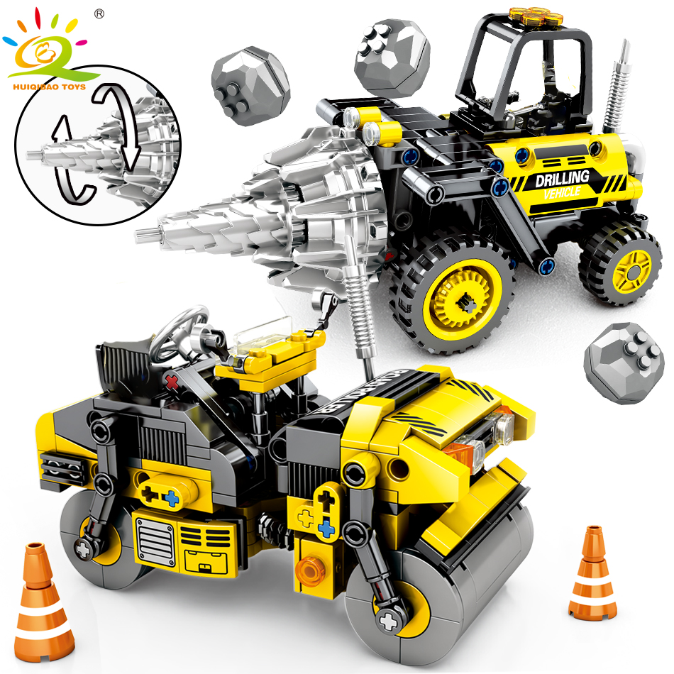 235pcs Drilling Vehicle Roller Engineering Building Blocks Compatible Legoing Technic Brick City Construction Toy For Children
