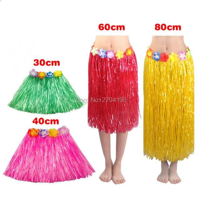 85fc5a223a6e 30/40/60/80cm Woman Fashion Hawaiian Grass Skirt Hula Flower Garland Fancy