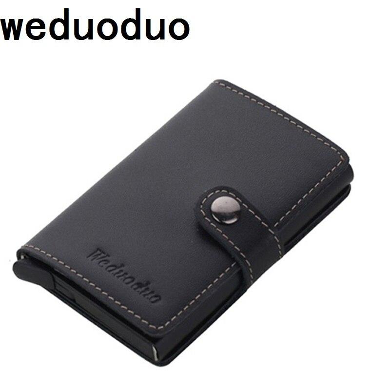 Weduoduo Echtem Leder Metall Männer Kartenhalter RFID Aluminium hochwertige Kreditkarteninhaber Mit RFID Sperrung Mini Brieftasche