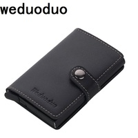 Weduoduo Genuine Leather Metal Men Card Holder RFID Aluminium High Quality Credit Card Holder With RFID
