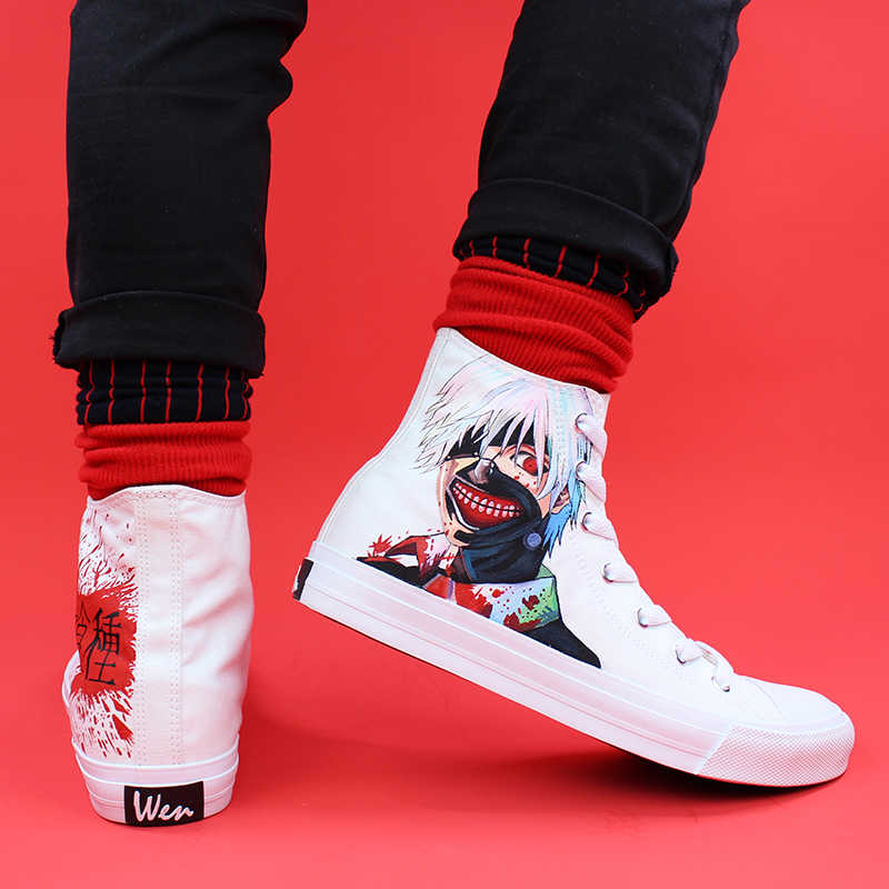 Wen Canvas Hand Painted Custom Shoes Design Tokyo Ghouls