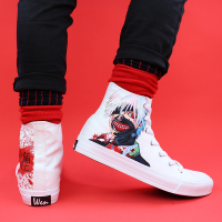 Wen Canvas Hand Painted Custom Shoes Design Tokyo Ghouls Anime High Top White Drawstring Sneakers Mens Womens Flat Espadrilles