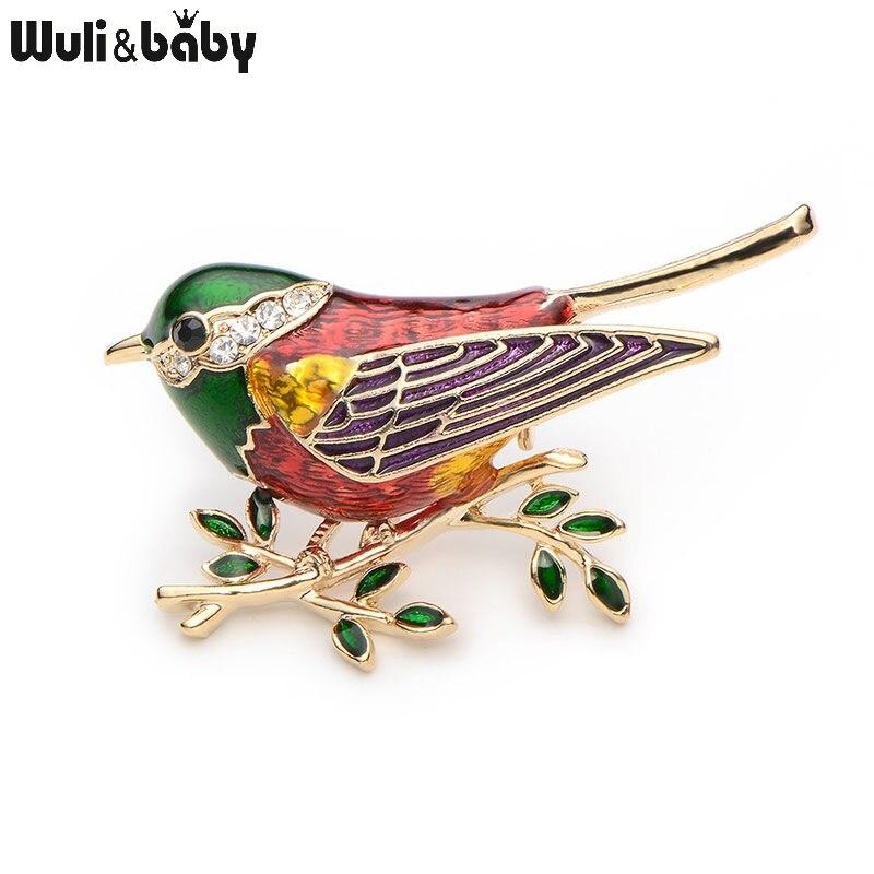 Rhinestone Emajl Oriole Ptice Broševi Muškarci Žene Legura Ptica - Modni nakit - Foto 4