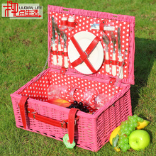 Picnic Baskets Big Willow-woven Dining With Wicker-woven Covers And Heat-insulated Receiving For Four Persons Ou