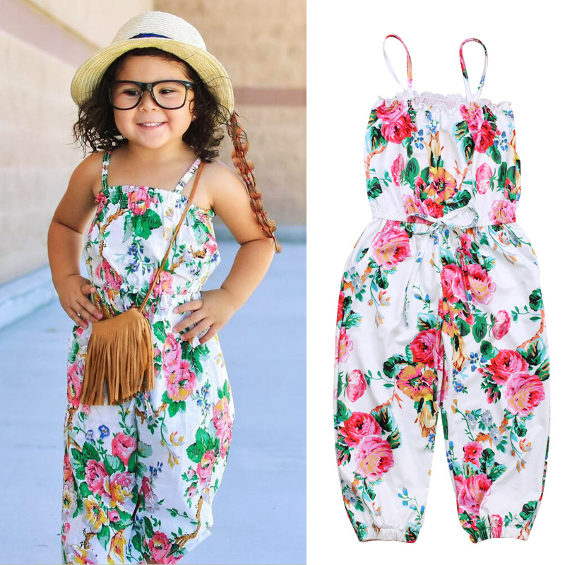 Girls Flower Bodysuits One Piece Sling Dresses Sleeveless Kids Overalls Fashion Casual Sports Suits Kids Jumpsuits Clothes Ins