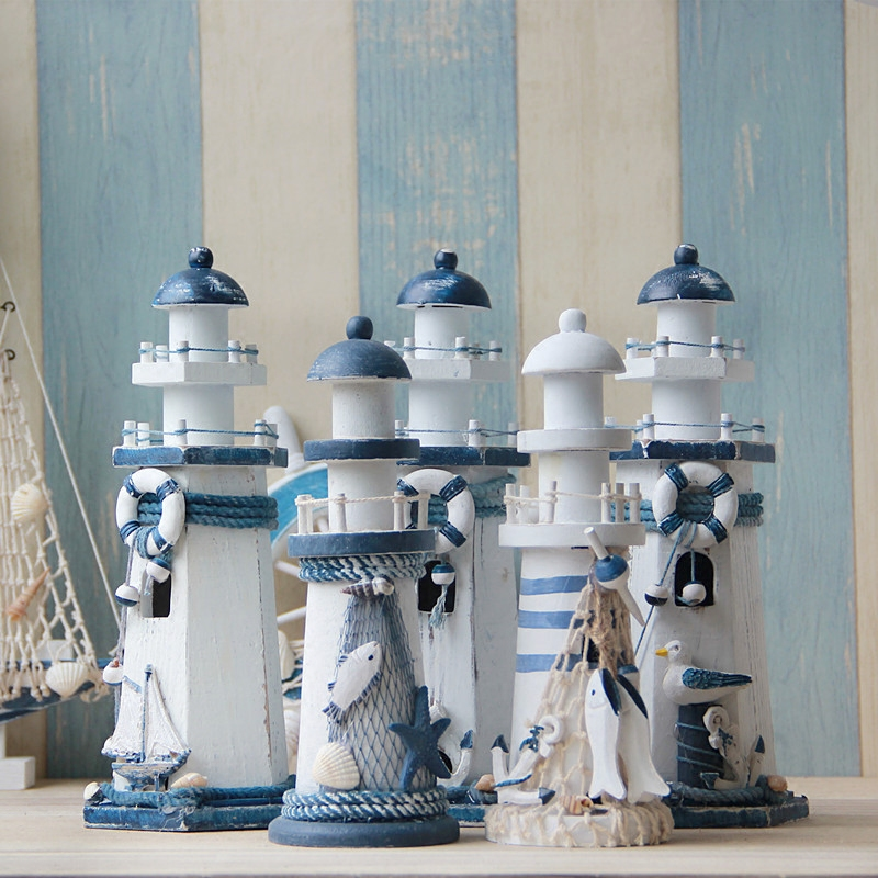 Creative Lighthouse Wooden Decorative Arts And Crafts Mediterranean Style Navigation Light Household Home Decoration In Figurines Miniatures From