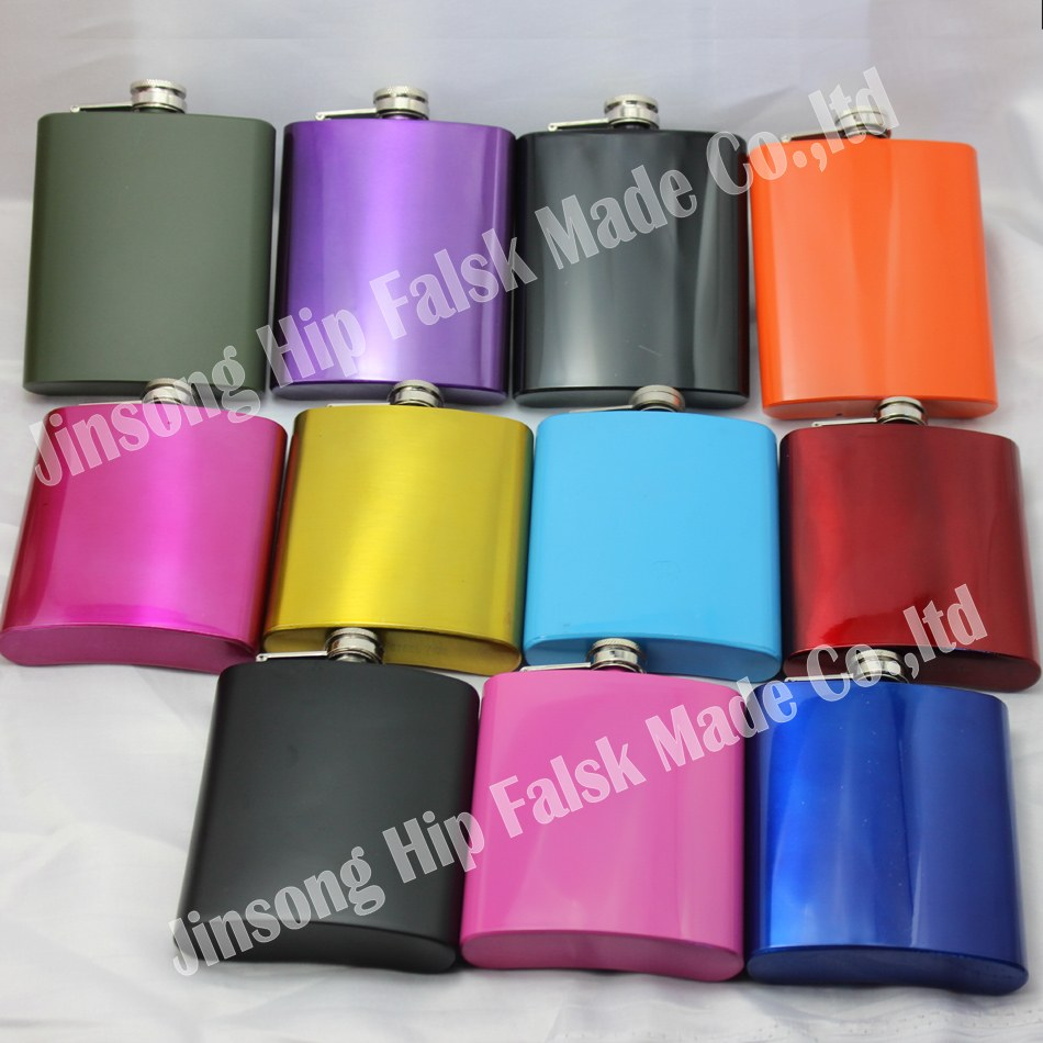 100PCS LOT lead free Color mixed stainless steel 7oz hip flask