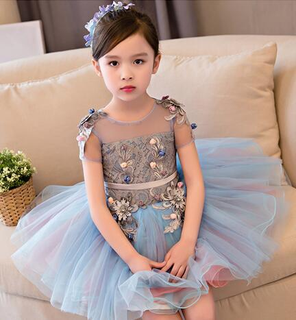 High Quality Flower Girl Party Pageant Princess Wedding Dress Appliques Glitz Blue Lace Girl First Communion