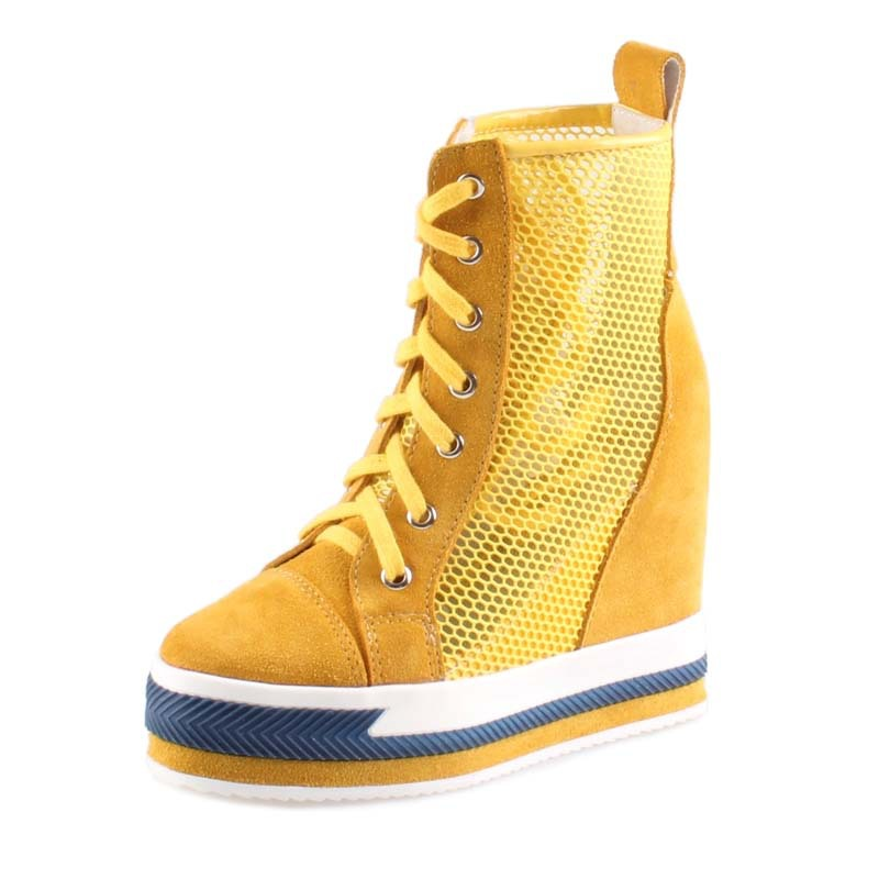 2017 woman hidden high heels top wedge ankle boots lace up casual women breathable mesh height increasing platform ladies shoes2017 woman hidden high heels top wedge ankle boots lace up casual women breathable mesh height increasing platform ladies shoes