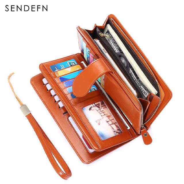 2018 New Large Capacity Wallet Quality Long Women's Purse Wine Red Ladies Wallet Clutch Phone Pocket Money Wallet With Strap