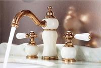 New arrival luxury copper and natural jade construction bathroom widespread 8' three hole gold finished basin faucet,sink mixer